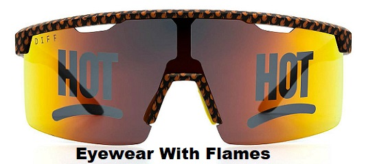 mens eyewear with flames
