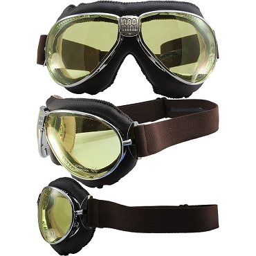 Nannini TT Gun Metal Motorcycle Goggles Yellow Lenses