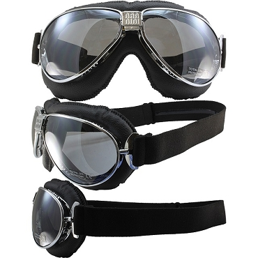 Nannini TT Chrome Motorcycle Goggles Mirror Lenses