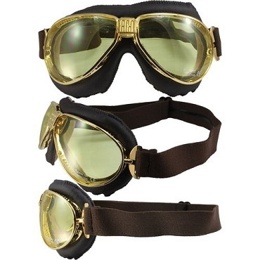 Nannini TT Gold Motorcycle Goggles Yellow Lenses