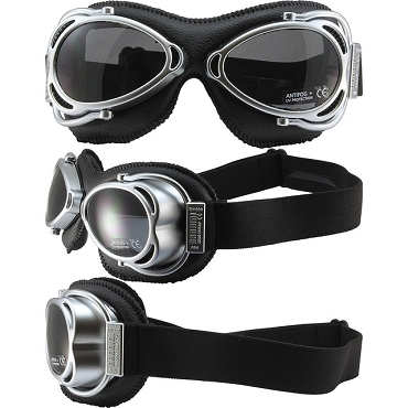 Nannini Street Fighter Motorcycle Goggles Smoke Lenses