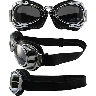 Nannini Hot Rod Foldable Biker Goggles Smoke Lenses