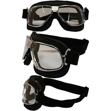 Nannini Cruiser Chrome Motorcycle Goggles Clear Lenses
