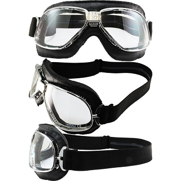 Nannini Chrome Motorcycle Goggles Clear Lenses Black Leather