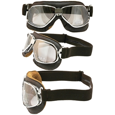 Nannini Cruiser Chrome Motorcycle Goggles Silver Mirror Lenses