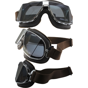 Nannini Custom Motorcycle Goggles Smoke Lenses Brown Leather