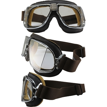 Nannini Custom Motorcycle Goggles Clear Lenses Brown Leather