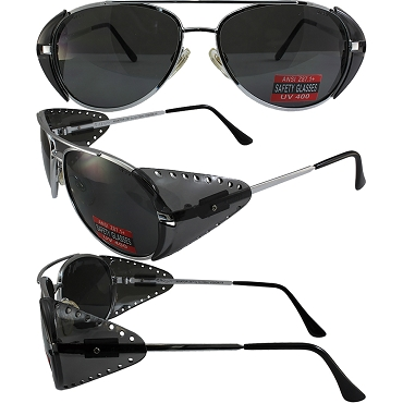 Aviator Z Safety Sunglasses Side Shields Smoke Lenses