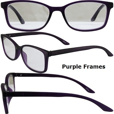 BPA Clear Reading Glasses with Red or Purple Frames
