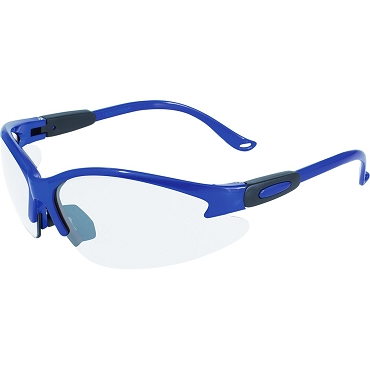 Contender Safety Glasses Blue Frame Clear Lenses