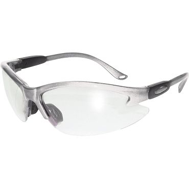 Contender Safety Glasses Silver Frame Clear Lenses