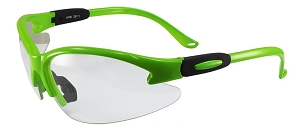 Cougar Safety Glasses Green Frame Clear Lenses