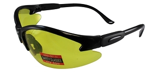Cougar Safety Glasses Black Frame Yellow Lenses