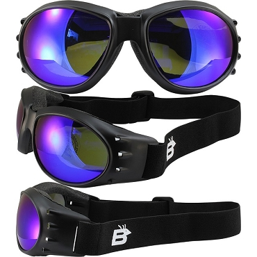 Eagle Vented Goggles with Blue Mirror Lenses