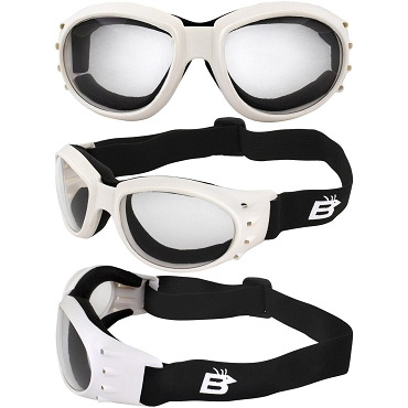 Eagle Vented White Biker Goggles Clear Lenses