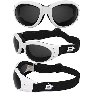 Eagle Vented White Biker Goggles Smoke Lenses