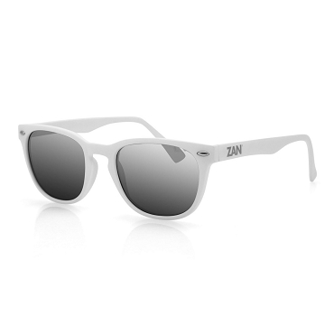 Sunglasses White Frame Smoke Reflective Lenses