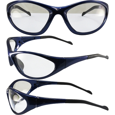 Flexor Safety Glasses Blue Frame Clear Lenses
