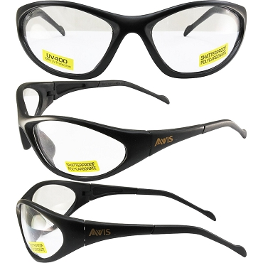 Flexor Safety Glasses Black Frame Clear Lenses
