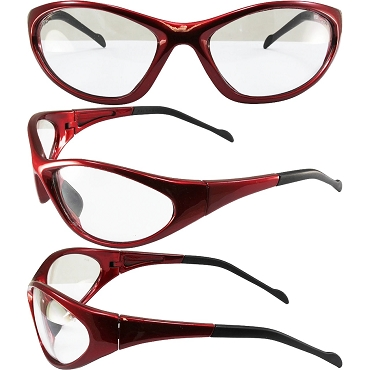 Flexor Safety Glasses Red Frame Clear Lenses