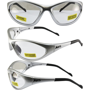 Flexor Safety Glasses Silver Frame Clear Lenses