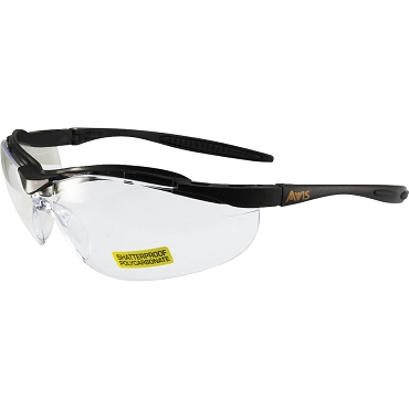 Force Safety Glasses Black Frame Clear Lenses
