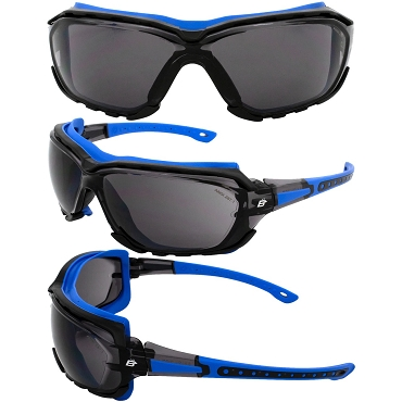 Gasket Blue Foam Padded Sunglasses Smoke Lenses
