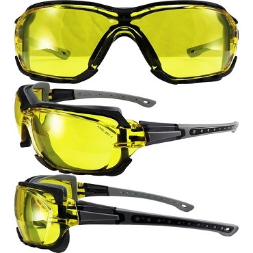 Gasket Foam Padded Safety Glasses Yellow Lenses