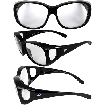 Peacock Fit Over Motorcycle Sunglasses Clear Lenses