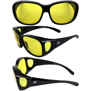 Peacock Fit Over Motorcycle Sunglasses Yellow Lenses