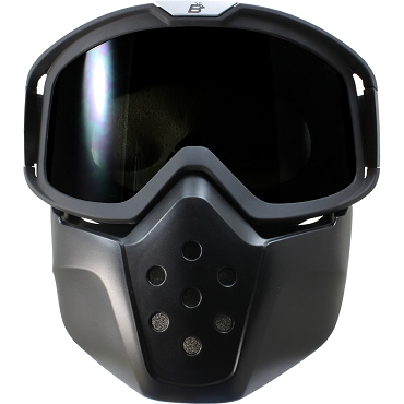 Smoke Motorcycle Goggles with Removable Face Mask