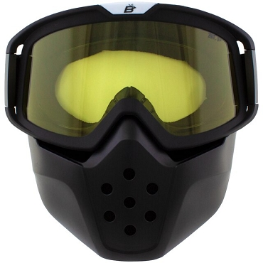 Yellow Motorcycle Goggles with Removable Face Mask