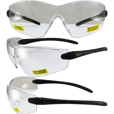 Rocket Safety Glasses Black Frame Clear Lenses