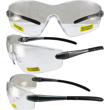 Rocket Safety Glasses Grey Frame Clear Lenses