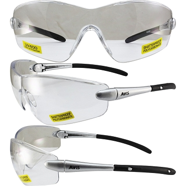 Rocket Safety Glasses Silver Frame Clear Lenses