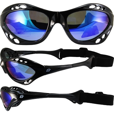 Seahawk Black Sunglasses Goggles Blue Lenses