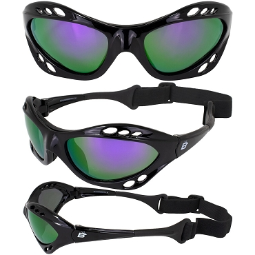 Seahawk Black Sunglasses Goggles Purple Lenses