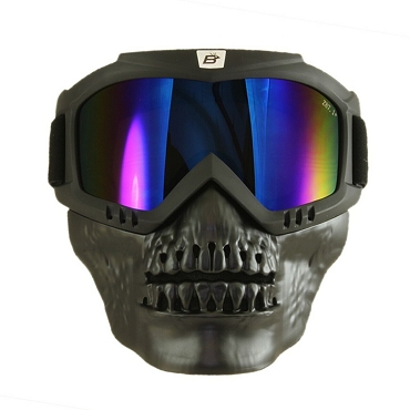 Blue Mirror Goggles with Removable Skull Face Mask