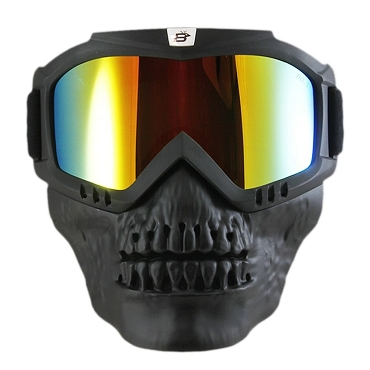 Red Mirror Goggles with Removable Skull Face Mask