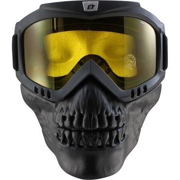Yellow Motorcycle Goggles with Skull Face Mask