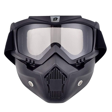 Clear Motorcycle Goggles with Vented Face Mask
