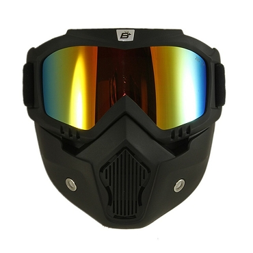 Red Mirror Goggles Removeable Vented Face Mask