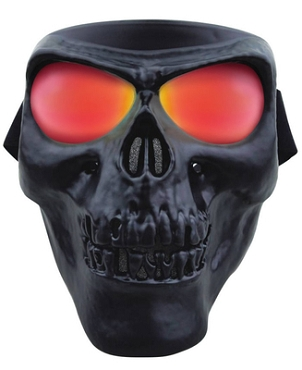 Black Skull Full Face Mask Smoke Red Lenses