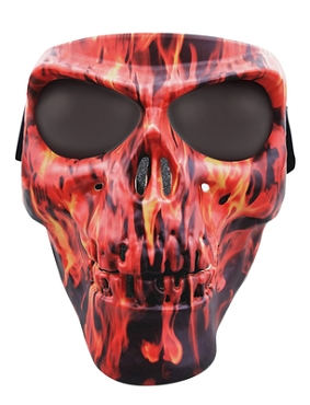 Flame Skull Full Face Mask Smoke Lenses