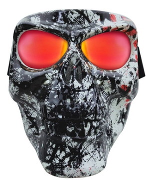 Star Skull Full Face Mask Smoke Red Lenses