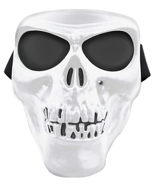 White Skull Full Face Mask Smoke Lenses