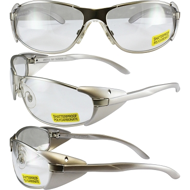 Supra Silver Side Shield Safety Glasses Clear Lenses