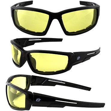 Swoop ANSI Foam Padded Biker Sunglasses Yellow Lenses