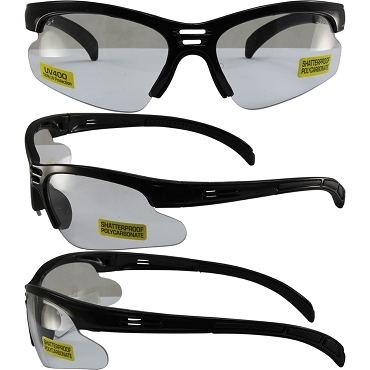 Trigger Safety Glasses Black Frame Clear Lenses