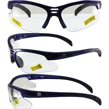 Trigger Safety Glasses Blue Frame Clear Lenses